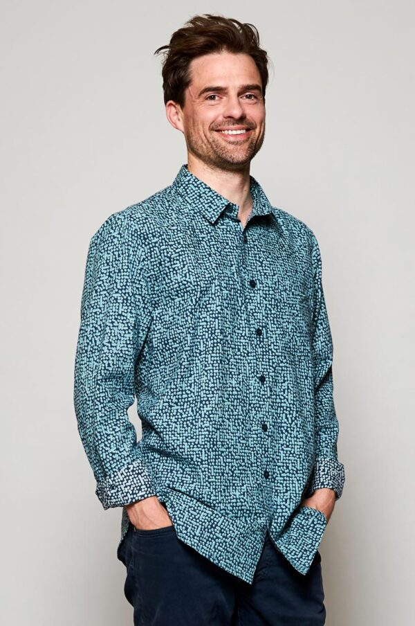 mens long sleeve shirt Wildwood Cornwall fair trade cotton
