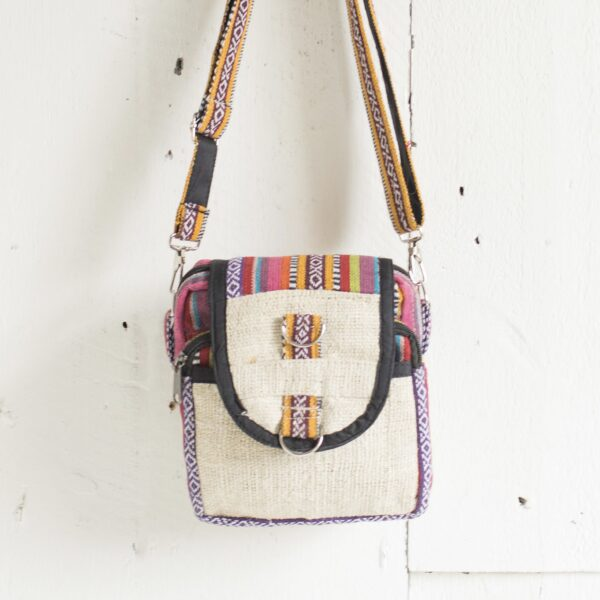 Hemp shoulder bag in bright Gheri fabric, fair trade Wildwood Cornwall 2