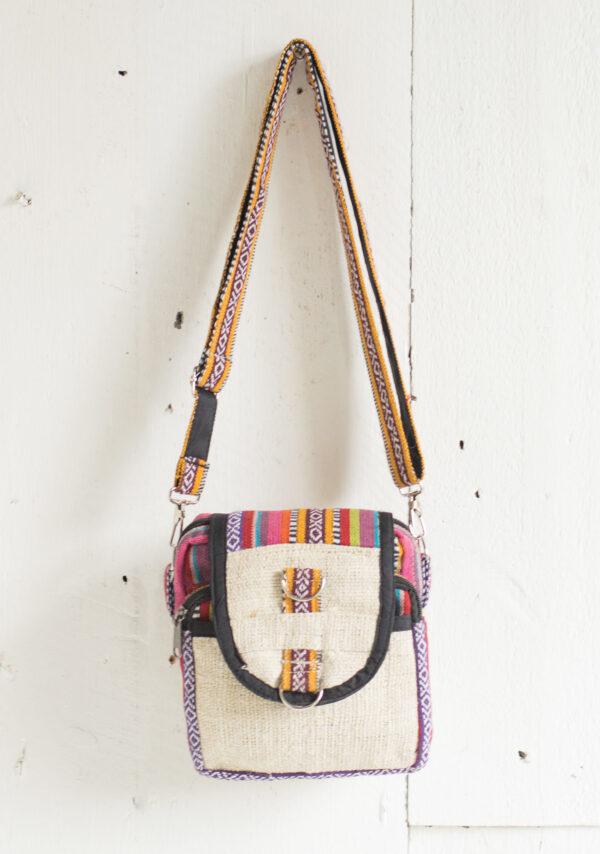 Hemp shoulder bag in bright Gheri fabric, fair trade Wildwood Cornwall