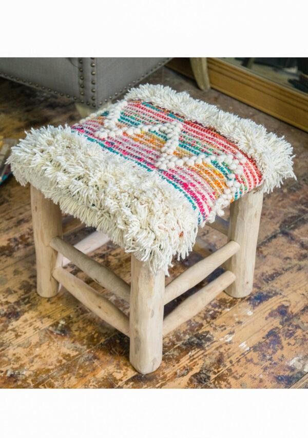 Fair trade mango wood sustainable wool recycled stool