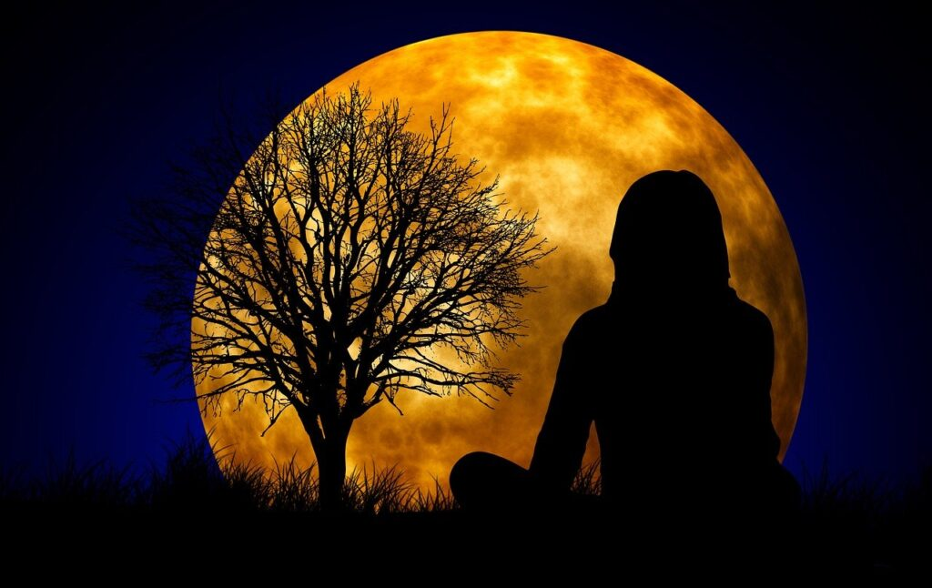 moon, woman, silhouette
