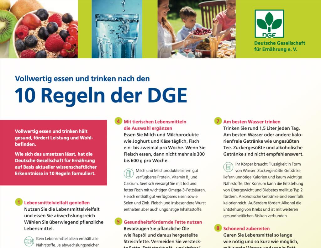 Richtlinien vegane Ernährung - Ausschnitt 10 Regeln der DGE