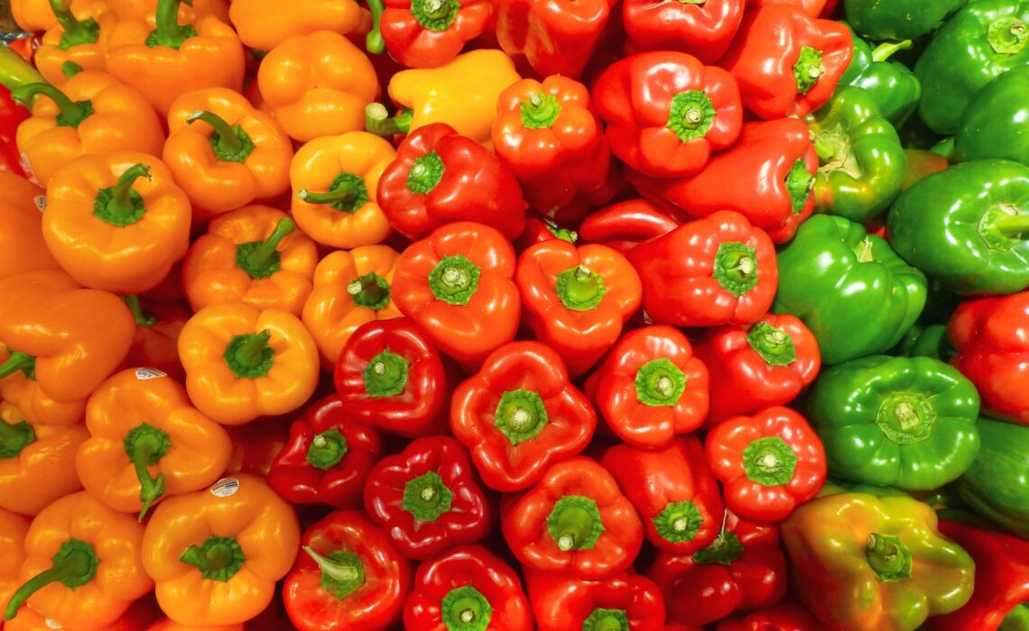 Orange, red and green bell peppers organised in rows