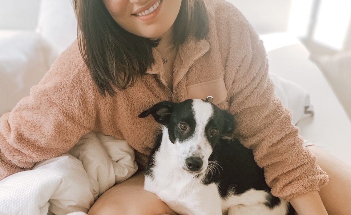 Small black and white puppy sitting in lap of woman