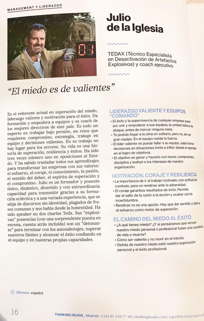Artículo dedicado a Julio de la Iglesia en el catálogo Top 100 Conferenciantes España 2020