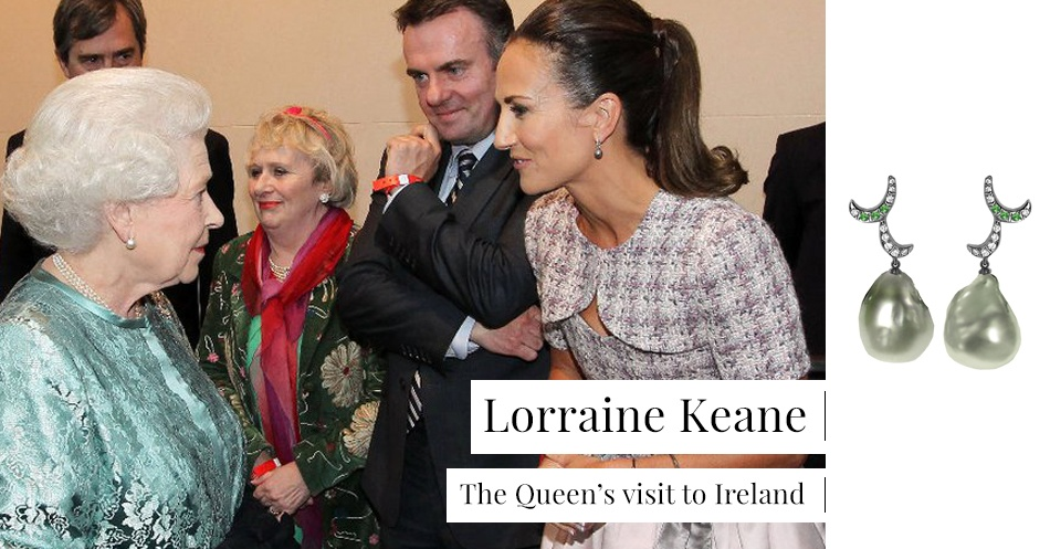 Lorraine Keane wearing Whispering Pearl Drop Earrings during HRM The Queen's visit to Ireland.