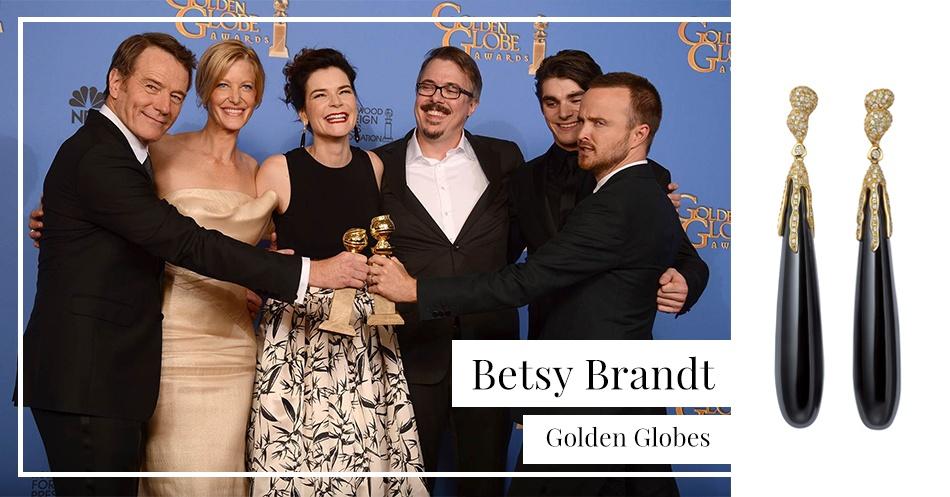 Betsy Brand wearing Fei Liu Onyx Drop Earrings at the Golden Globes