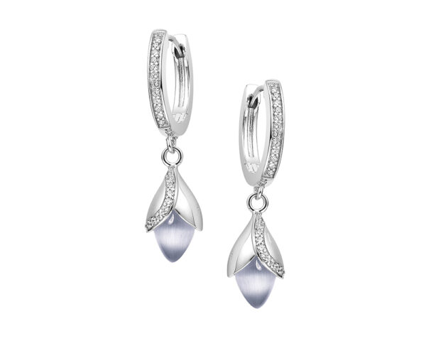 Magnolia hook earrings with cubic zirconia and cat's eye stone set in sterling silver.