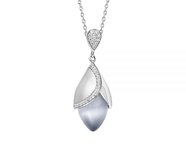 Magnolia large pendant with cubic zirconia and cat's eye stone set in sterling silver.