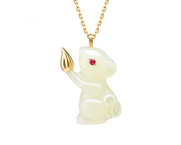 Fei Liu Year of the Rat Russian nephrite necklace in 14ct yellow gold