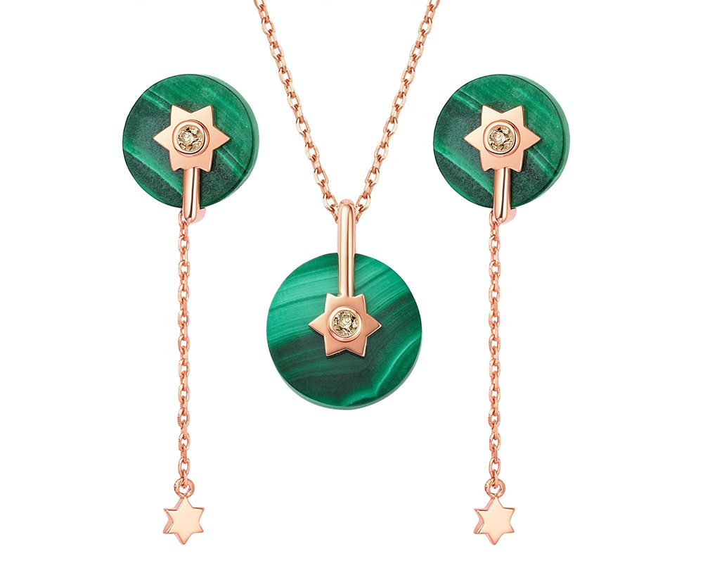 Fei Liu Stella earrings and pendant with champagne diamonds set in 18ct rose gold.