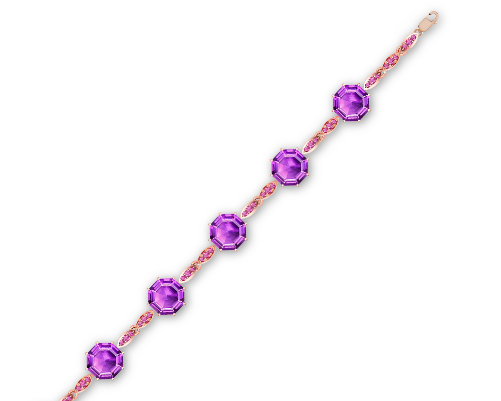 Fei Liu Victoriana bracelet with octagon cut purple amethyst and round pink sapphires, set in 18ct rose gold.