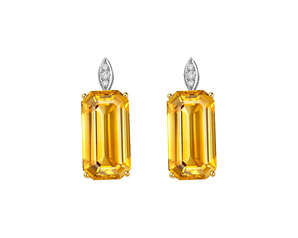 Fei Liu Victoriana short earrings with emerald cut citrine and round white diamonds, set in 18ct yellow and white gold.