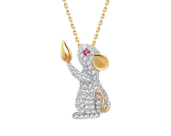 Fei Liu 14ct yellow gold diamond Year of the Rat.