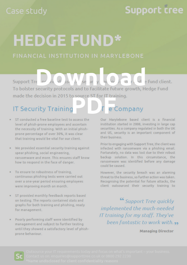 Our hedge fund client undertakes IT Security training