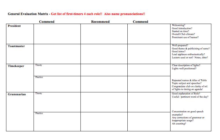 GE Evaluation Form