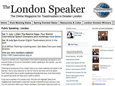 The London Speaker Website
