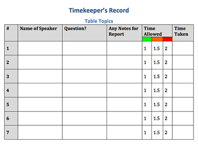 Timekeepers Record