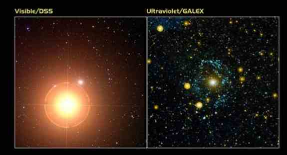 ultraviolet and DSS view of Mirach's Ghost Galaxy