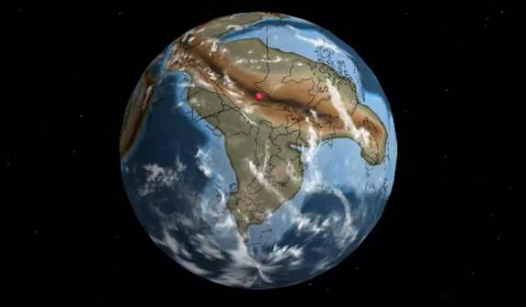 Location of present day New York City about 750 million years ago