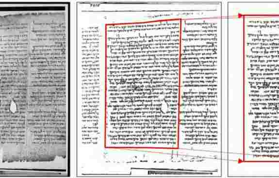 A gray scale image of column 15 (left) of the Great Isaiah Scroll, its corresponding image created from using BiNet (middle), and the cleaned-corrected image (right). Notice how the middle and right images are rotated and geometrically transformed, which gives a better image for processing.
