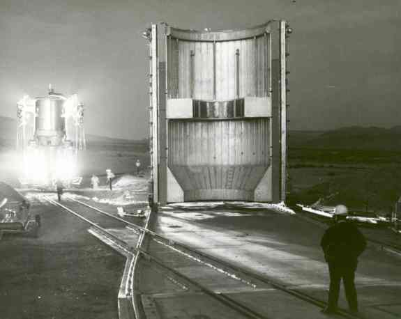 Nuclear rocket engine being transported to test stand in Jackass Flats, Nevada, in 1967.