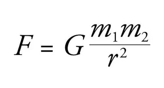 Law Formula describes the force between 2 bodies with mass m1 and m2, distance r. G is the gravitational constant