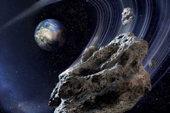 Asteroids Revolving Around Earth in space