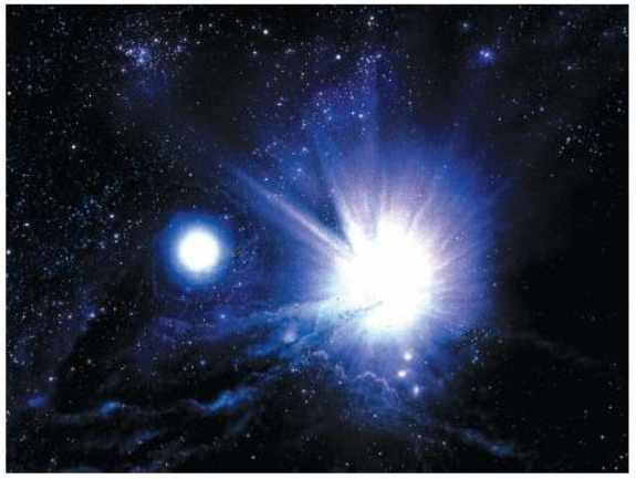 An artist's impression of the birth of two stars from clouds of interstellar matter