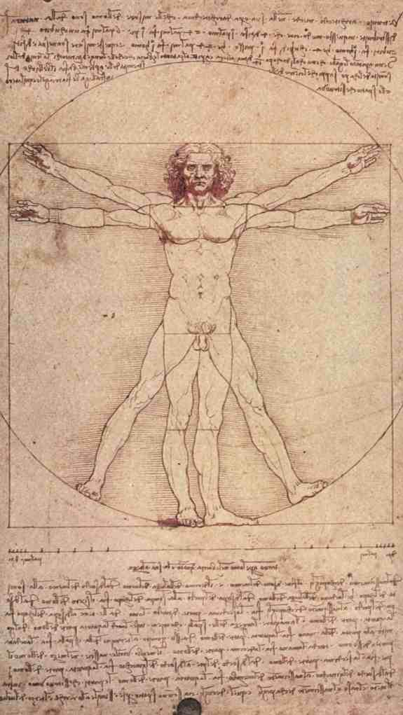 """Da Vinci's 'Virtruvian Man', a study in the proportions of the human anatomy. Below and above are notes made in """"mirrored"""" writing"""