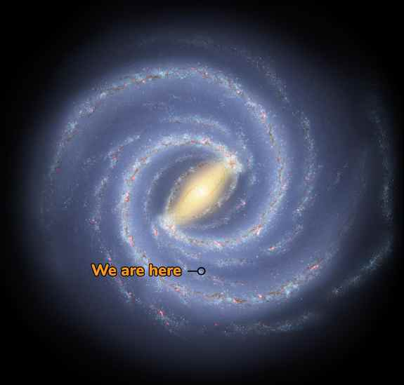 If we could travel outside our galaxy and look back, this is what our Milky Way Galaxy might look like from above. An artist created this illustration using data collected by astronomers.