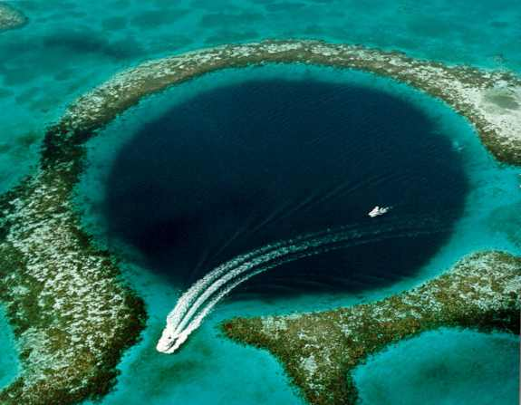 Great Blue Hole cave in the middle of sea