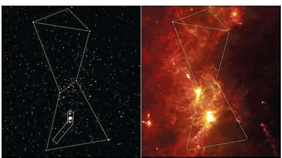 Constellation Orion in visible light (left) and in infrared (right).