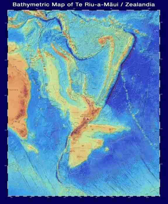 A bathymetric map of New Zealandia, which shows the shape of the continent under the water.