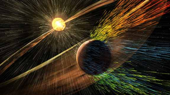 solar wind hitting Mars & stripping ions from the planet's upper atmosphere.