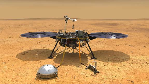 Artist's concept depicts NASA's InSight lander after it has deployed its instruments on the Martian surface