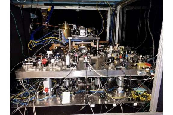 This January 25, 2017, image courtesy of Dr. Ed Marti, shows a strontium optical lattice clock, stored at Jun Ye's lab in the University of Colorado, Boulder.