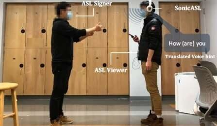 Headphone-based system uses Doppler technology to sense tiny fluctuations, or echoes, in acoustic soundwaves that are created by the hands of someone signing. Credit: University at Buffalo