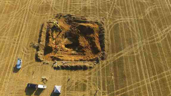 Aerial view of the crater from explosion of the V2 rocket in 1944 being excavated last month. The site was an orchard when the rocket hit it 77 years ago.