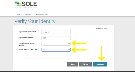 Sole Pay Card Activation