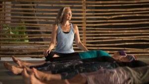 Melanie Cooper leading a yoga class
