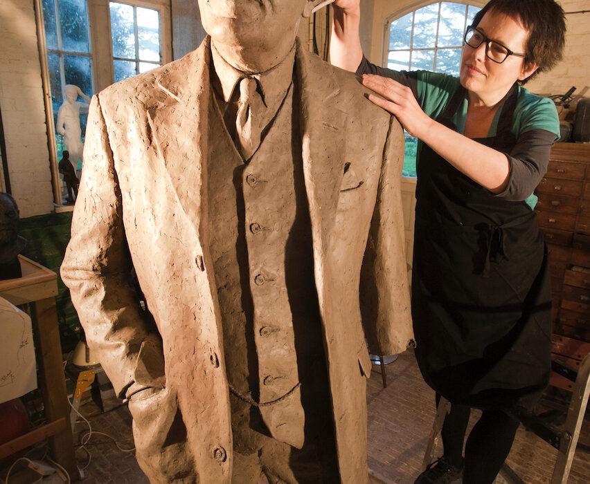Helen Reeves sculpting