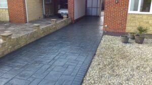 Steel Grey Ashlar Slate Printed Concrete Driveway