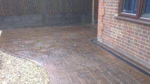 Tudor Brown Ashlar Slate Printed Concrete Driveway