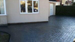 Charcoal Cheshire Cobble and London Cobble Printed Concrete Driveway