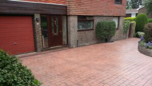 Brick Red London Cobble Printed Concrete Driveway