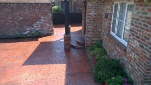 Deep Red London Cobble Printed Concrete Driveway