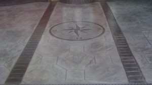 Steel Grey Octagon Tile Printed Concrete Driveway with Acid Etched Borders and Features