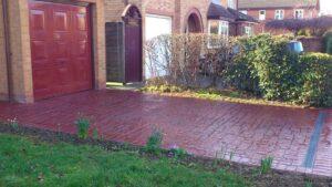 Brick Red Roman Cobble Printed Concrete Driveway