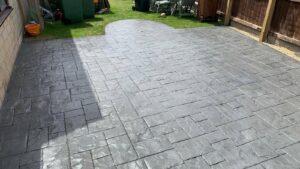 Printed Concrete Patio in Grey Ashlar Slate